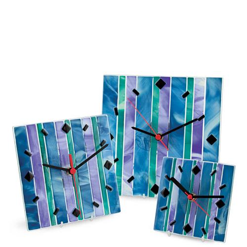 Blue Lines Clock (12cm) Malta,Glass Clocks Malta, Glass Clocks, Mdina Glass