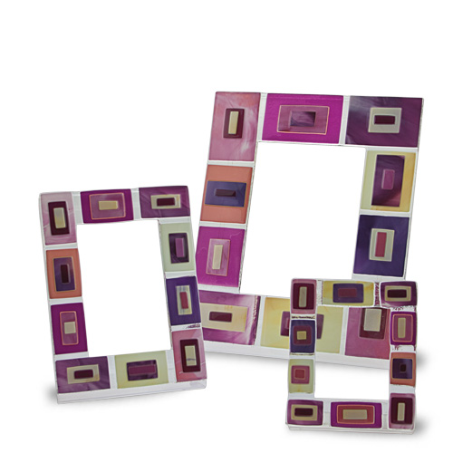 Pink Squares Frame (21x16cm) Malta,Glass Picture Frames Malta, Glass Picture Frames, Mdina Glass