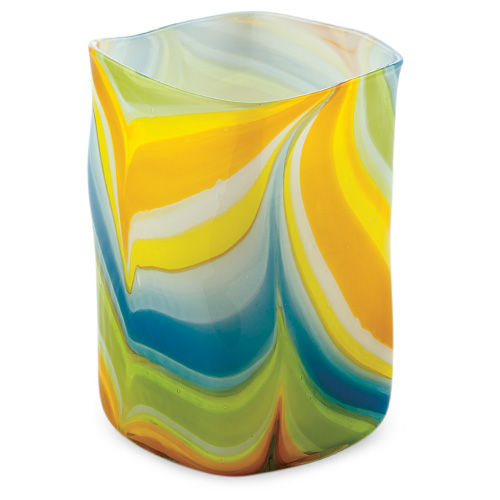 Vega Medium Wide Cube Vase Malta,Glass Vega Malta, Glass Vega, Mdina Glass