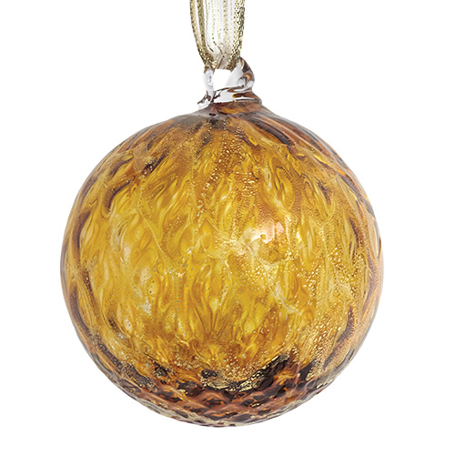 Gold Small Round Pine Bauble w/gold leaf Malta | Christmas ... on