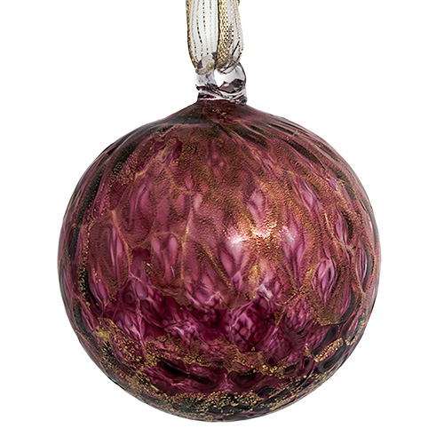 Italian Pink Large Round Pine Bauble w/gold leaf Malta | Christmas on