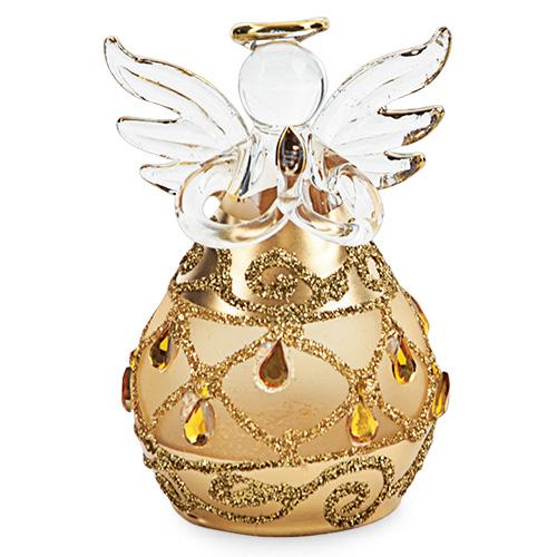 Round Gold Angel with Diamonds Malta,Glass Decorative Angels Malta, Glass Decorative Angels, Mdina Glass