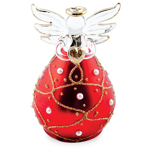 Round Red Angel with Pearls Malta,Glass Decorative Angels Malta, Glass Decorative Angels, Mdina Glass