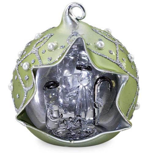 Small Round Silver Crib with Pearls Malta,Glass Decorative Cribs Malta, Glass Decorative Cribs, Mdina Glass