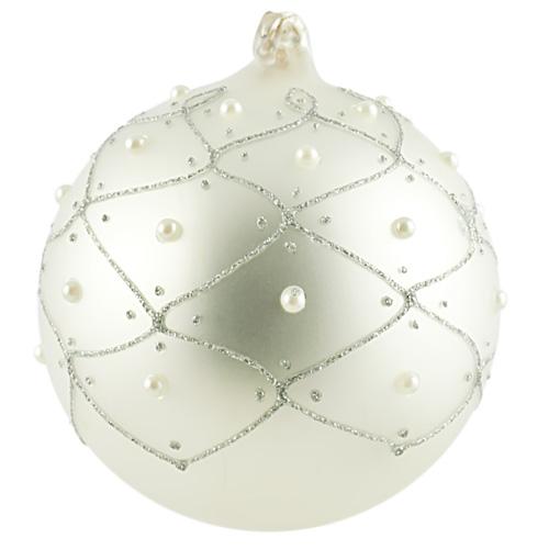 Silver Pearl Small Round Bauble Malta,Glass Baubles Malta, Glass Baubles, Mdina Glass
