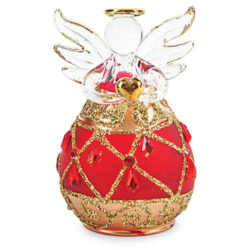 Round Red Angel with Diamonds Malta,Glass Decorative Angels Malta, Glass Decorative Angels, Mdina Glass