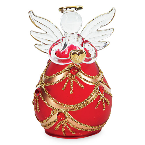 Round Red Angel with Jewels Malta,Glass Decorative Angels Malta, Glass Decorative Angels, Mdina Glass