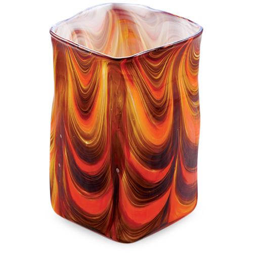 Zulu Medium Wide Cube Vase Malta,Glass Zulu Malta, Glass Zulu, Mdina Glass