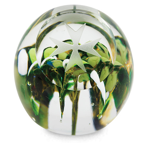 Small Round Flower Paperweight with Maltese Cross Malta,Glass Paperweights Malta, Glass Paperweights, Mdina Glass
