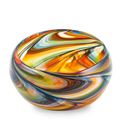 Orange with Pigeon Blue & Yellow Miniature Orbit Bowl Malta,Glass Serving Bowls Malta, Glass Serving Bowls, Mdina Glass