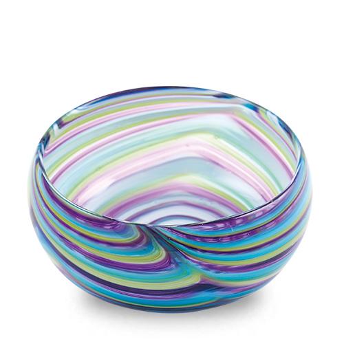 Turquoise with Purple & Green Miniature Orbit Bowl Malta,Glass Serving Bowls Malta, Glass Serving Bowls, Mdina Glass