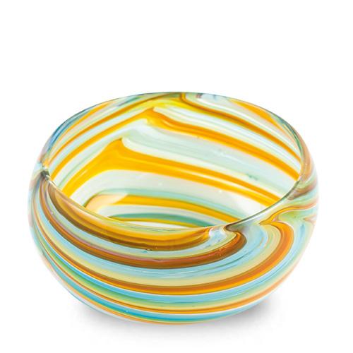 Turquoise with Yellow & Green Miniature Orbit Bowl Malta,Glass Serving Bowls Malta, Glass Serving Bowls, Mdina Glass