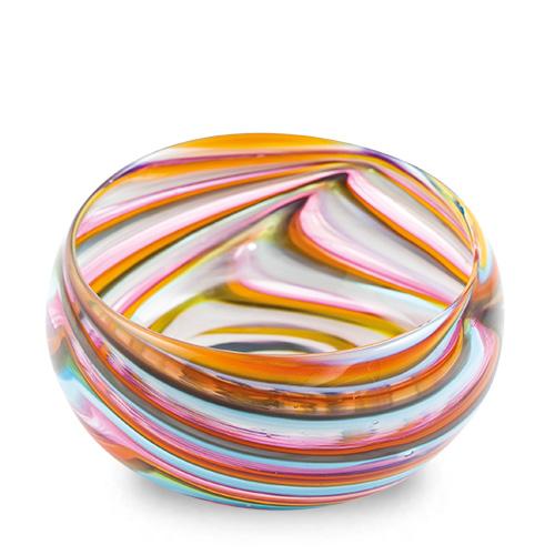 Turquoise with Italian Pink & Yellow Miniature Orbit Bowl Malta,Glass Serving Bowls Malta, Glass Serving Bowls, Mdina Glass