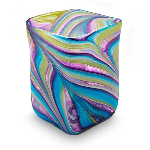 Lifestyle 'D' Medium Wide Cube Vase Malta,Glass Lifestyle 'D' Malta, Glass Lifestyle 'D', Mdina Glass