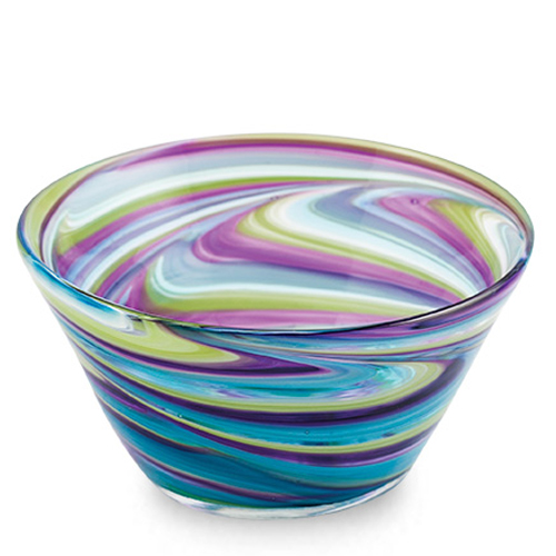 Turquoise with Purple & Green Ice-Cream Bowl Malta,Glass Serving Bowls Malta, Glass Serving Bowls, Mdina Glass