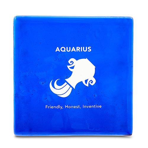 Aquarius Coaster Malta,Glass Zodiac Coasters Malta, Glass Zodiac Coasters, Mdina Glass