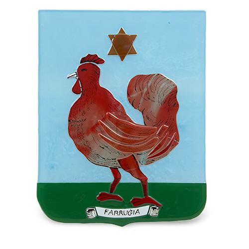 Family Crest: Farrugia Malta,Glass Family Crests Malta, Glass Family Crests, Mdina Glass