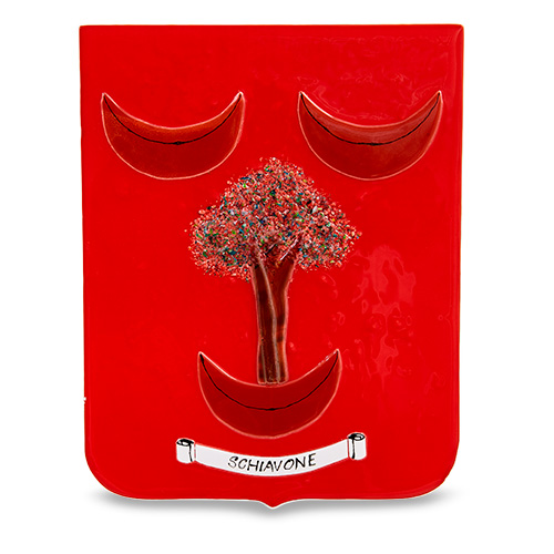 Family Crest: Schiavone Malta,Glass Family Crests Malta, Glass Family Crests, Mdina Glass