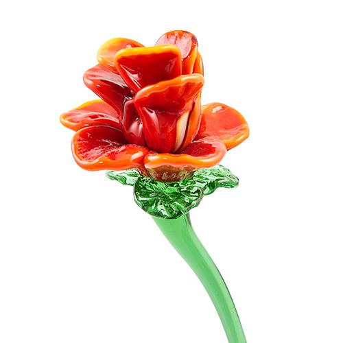 Red Flower 2 Malta,Glass Flowers Malta, Glass Flowers, Mdina Glass
