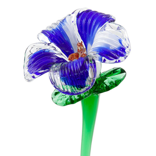 White & Dark Blue Flower Malta,Glass Flowers Malta, Glass Flowers, Mdina Glass