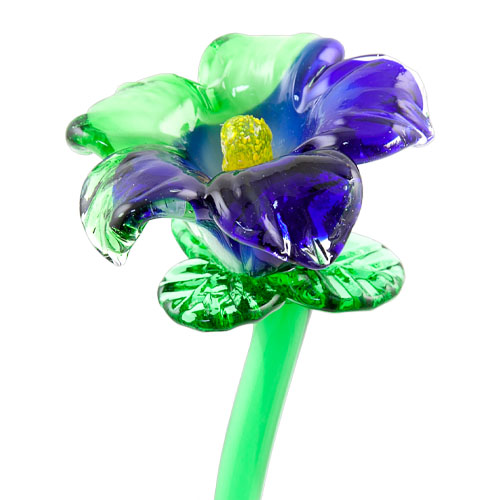 Dark Blue & Green Flower Malta,Glass Flowers Malta, Glass Flowers, Mdina Glass