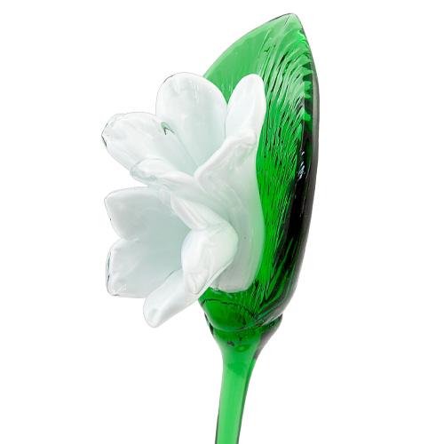 White Double Flower Malta,Glass Flowers Malta, Glass Flowers, Mdina Glass
