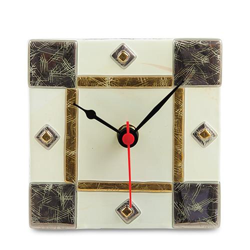 Gold Silver Cream Square Clock Malta,Glass Gold Silver Cream Malta, Glass Gold Silver Cream, Mdina Glass