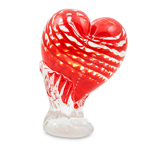 Small Sculpted Heart with Base Malta,Glass Sculptures Malta, Glass Sculptures, Mdina Glass
