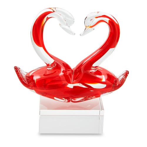 Love Swans on Glass Block Malta,Glass Sculptures Malta, Glass Sculptures, Mdina Glass