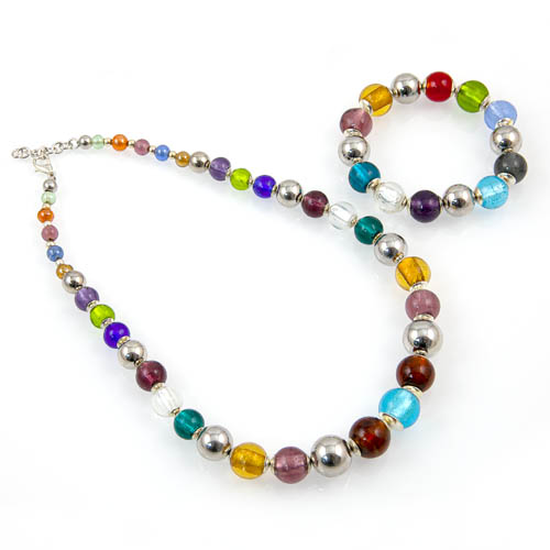 Glass Bead Necklace & Bracelet Set Malta,Glass Sets Malta, Glass Sets, Mdina Glass