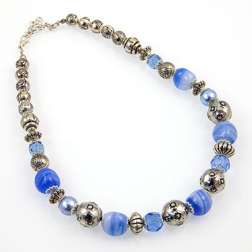 Glass & Metal Bead Necklace Malta,Glass Necklaces Malta, Glass Necklaces, Mdina Glass