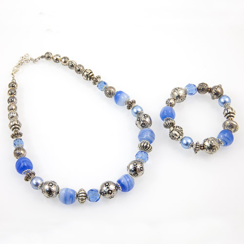 Glass & Metal Bead Necklace & Bracelet Set Malta,Glass Sets Malta, Glass Sets, Mdina Glass