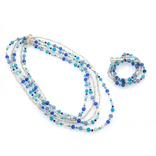 Multi Strand Glass Bead Necklace & Bracelet Set Malta,Glass Sets Malta, Glass Sets, Mdina Glass