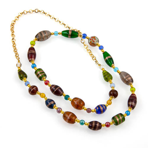 Necklace with Glass Beads & Metal Chain Malta,Glass Necklaces Malta, Glass Necklaces, Mdina Glass