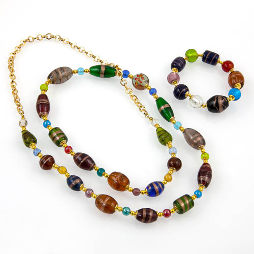 Glass Beads & Metal Chain Necklace & Glass Bead Bracelet Set Malta,Glass Sets Malta, Glass Sets, Mdina Glass