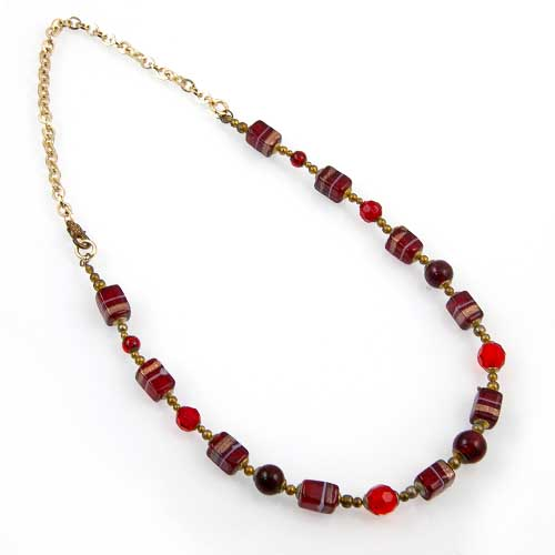 Long Necklace with Glass Beads & Metal Chain Malta,Glass Necklaces Malta, Glass Necklaces, Mdina Glass
