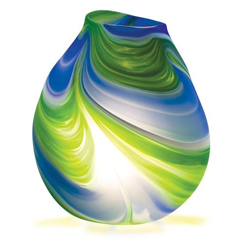 Kingfisher Medium Double Swirl Vase Lamp Frosted Malta,Glass Lighting Malta, Glass Lighting, Mdina Glass