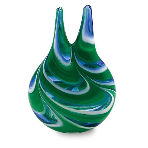 Kingfisher Miniature Double Neck Vase Malta,Glass Vases Malta, Glass Vases, Mdina Glass