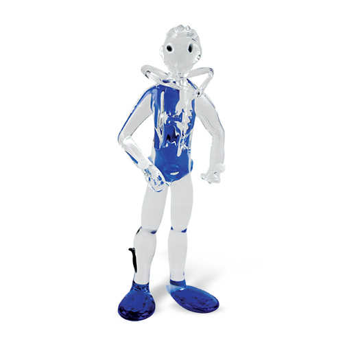 Standing Male Diver Malta,Glass Figurines Malta, Glass Figurines, Mdina Glass