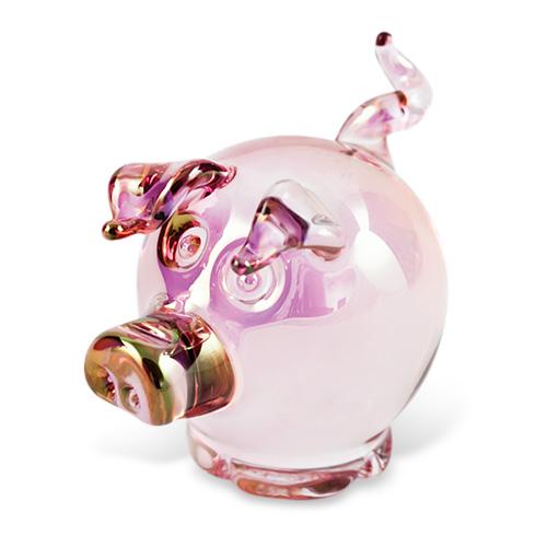 Round Solid Pig  Malta,Glass Figurines Malta, Glass Figurines, Mdina Glass