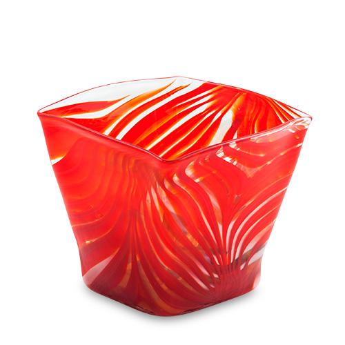 Marte Medium Wide Cube Vase Malta,Glass Marte Malta, Glass Marte, Mdina Glass