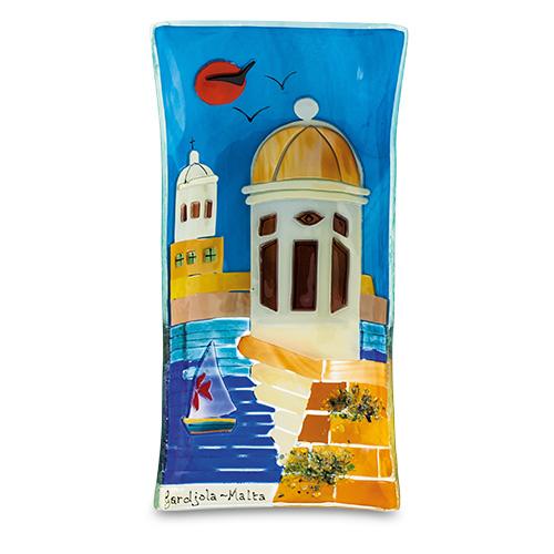 Malta,  Malta,Glass Pictures & Scenes Malta,Glass Pictures & Scenes, Gardjola Scene (27cm x 14cm) Malta, Mdina Glass Malta
