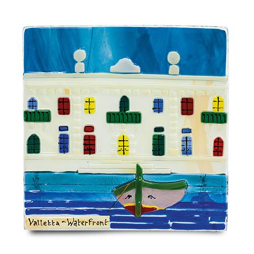 Waterfront Scene (17cm) Malta,Glass Pictures & Scenes Malta, Glass Pictures & Scenes, Mdina Glass
