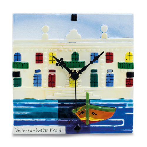 Waterfront Scene Clock Malta,Glass Clocks Malta, Glass Clocks, Mdina Glass
