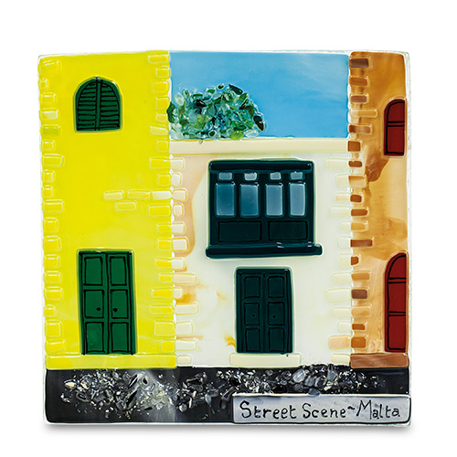 Gallerija / Houses (17cm) Malta,Glass Pictures & Scenes Malta, Glass Pictures & Scenes, Mdina Glass