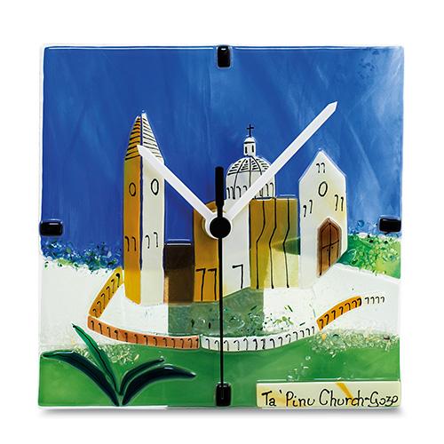 Ta' Pinu Scene Clock Malta,Glass Clocks Malta, Glass Clocks, Mdina Glass