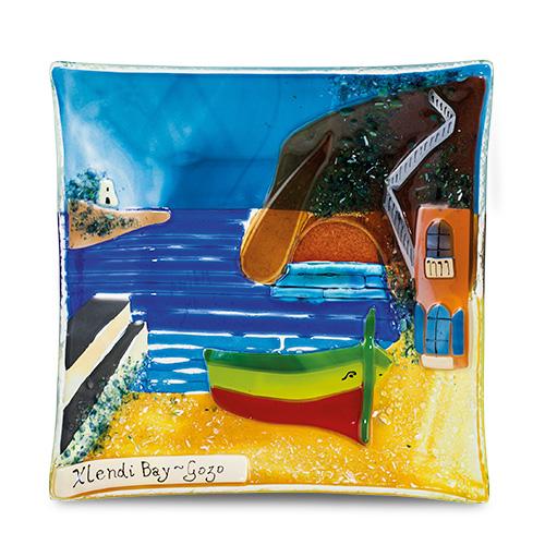 Xlendi Scene (17cm) Malta,Glass Gozo Scenes Malta, Glass Gozo Scenes, Mdina Glass