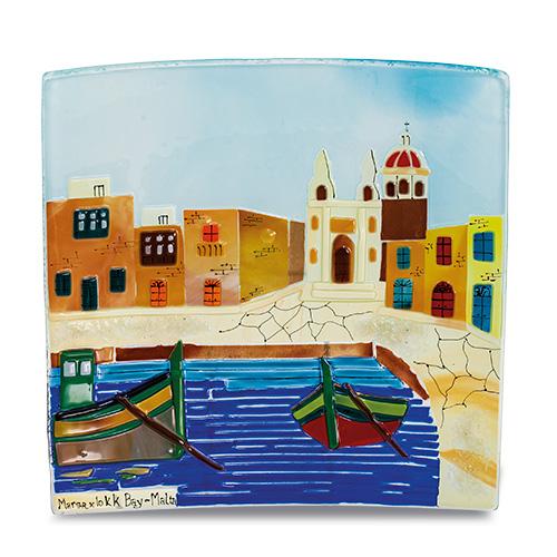 Marsaxlokk Scene (28cm) Malta,Glass Pictures & Scenes Malta, Glass Pictures & Scenes, Mdina Glass