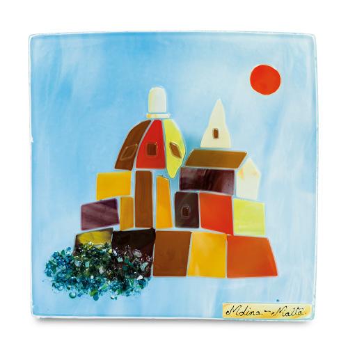 Modern Mdina Scene (22cm) Malta,Glass Pictures & Scenes Malta, Glass Pictures & Scenes, Mdina Glass