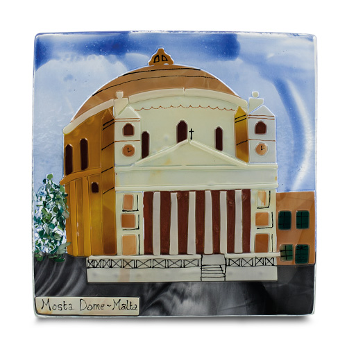 Mosta Dome (22cm) Malta,Glass Pictures & Scenes Malta, Glass Pictures & Scenes, Mdina Glass